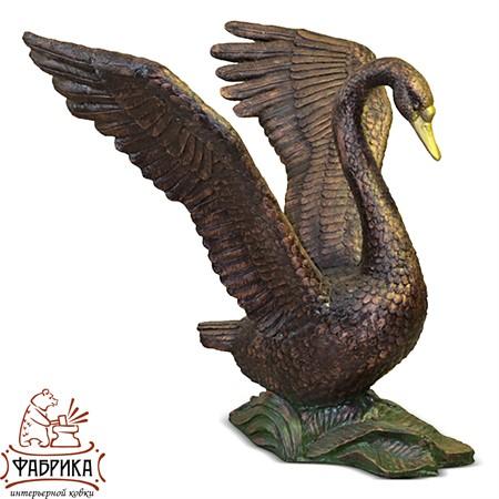 Садовый декор из полистоуна фигура Лебедь бронза US07575