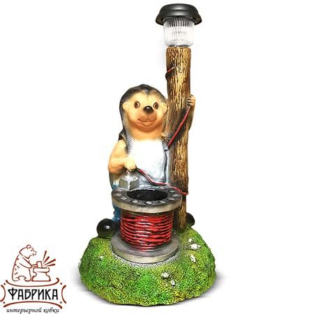 Садовая фигура из полистоуна светильник Ёж-электрик F07085