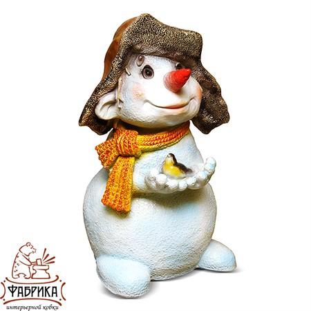 Новогодняя фигура из полистоуна Снеговик с Птичкой F03181