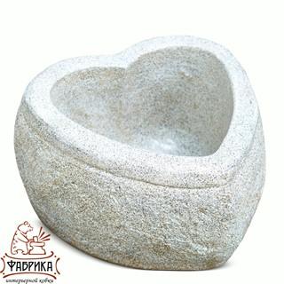 Садовый декор из полистоуна Кашпо Сердце малое белое  F08023-BT