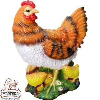 Садовая фигура из полистоуна Курица с цыплятами F01212