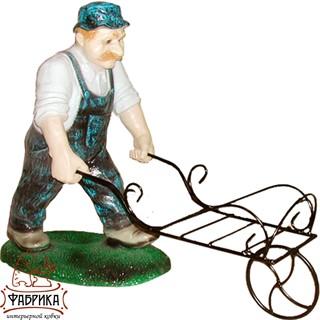 Садовая фигура из полистоуна Мужик с Тачкой F03147