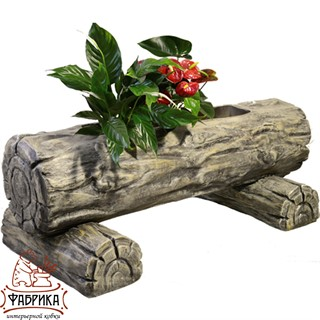 Садовый декор из полистоуна Большое кашпо Бревно U07474
