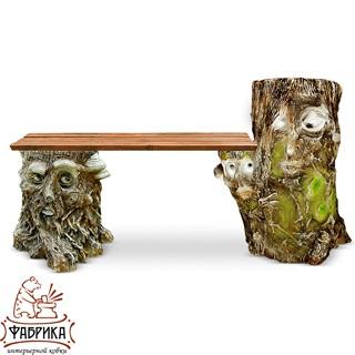 Садовая мебель из полистоуна Скамейка F07024 (F02021+F04058)