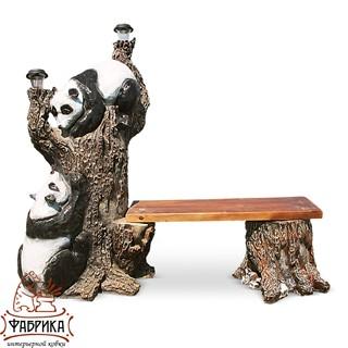 Садовая мебель из полистоуна Скамейка Дерево с Пандами F07027