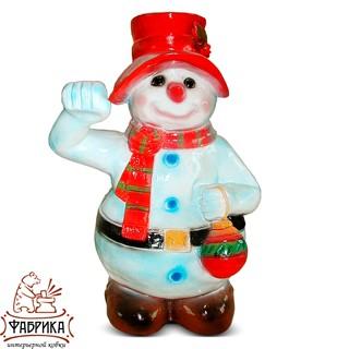 Новогодние фигуры из полистоуна Снеговик с Фонарём F03105