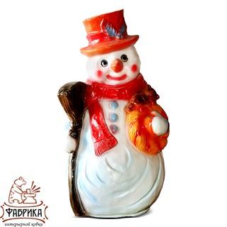 Новогодние фигуры из полистоуна Снеговик с Метлой F03106