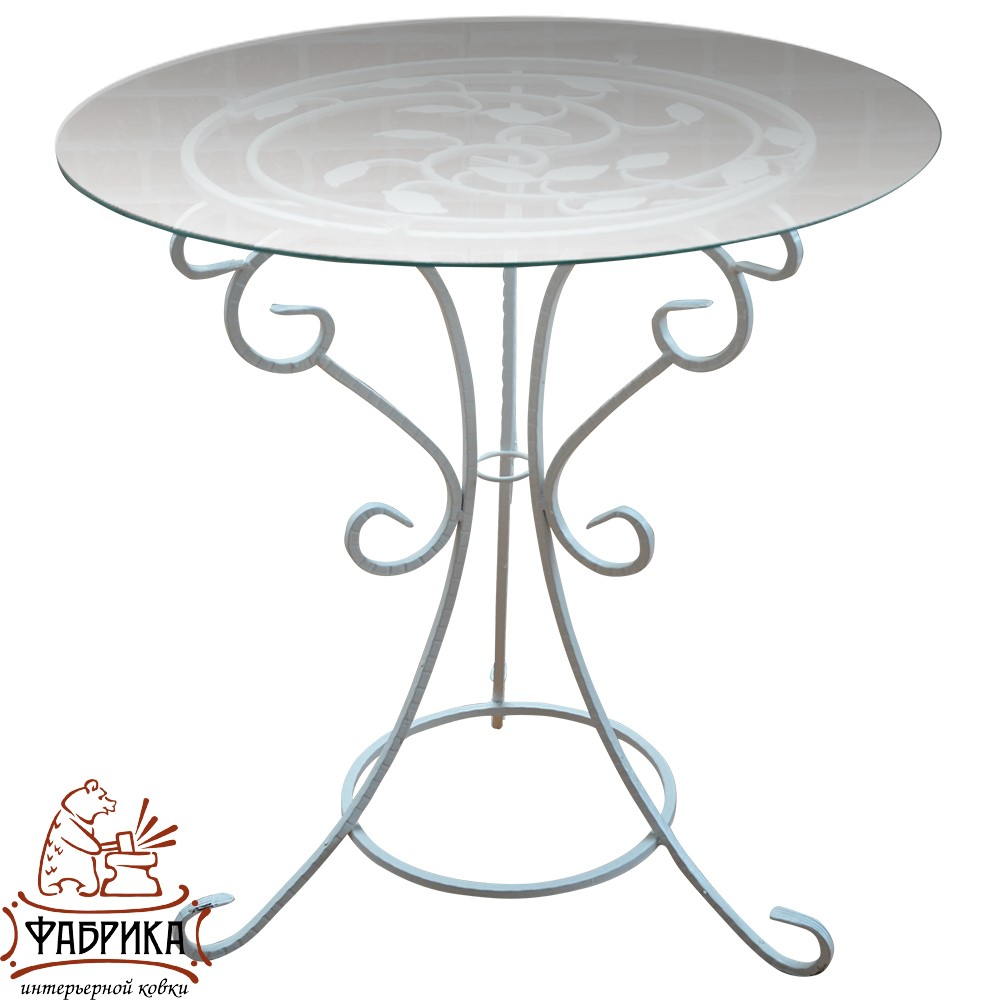 Стол 349-01 W (стекло) d 55 см