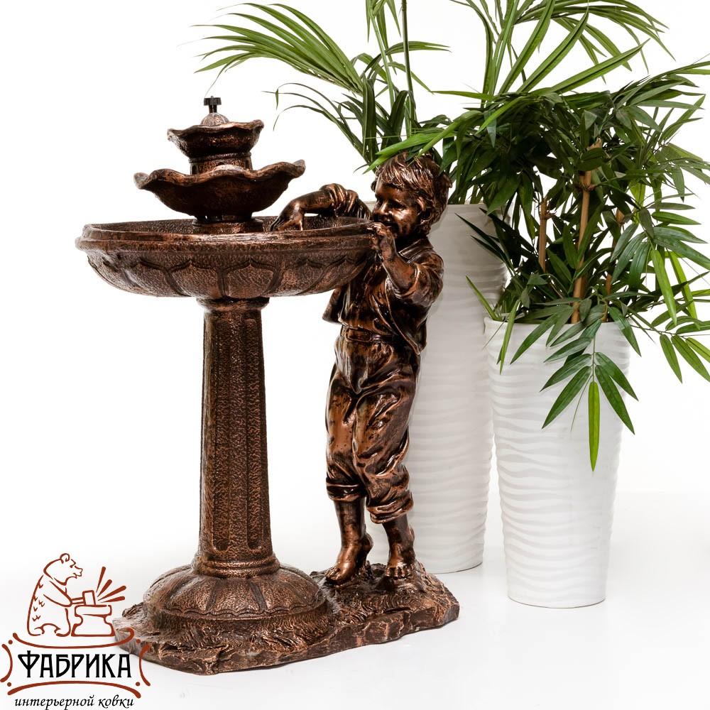 Фонтан для сада Мальчик у фонтана, под бронзу, F07022