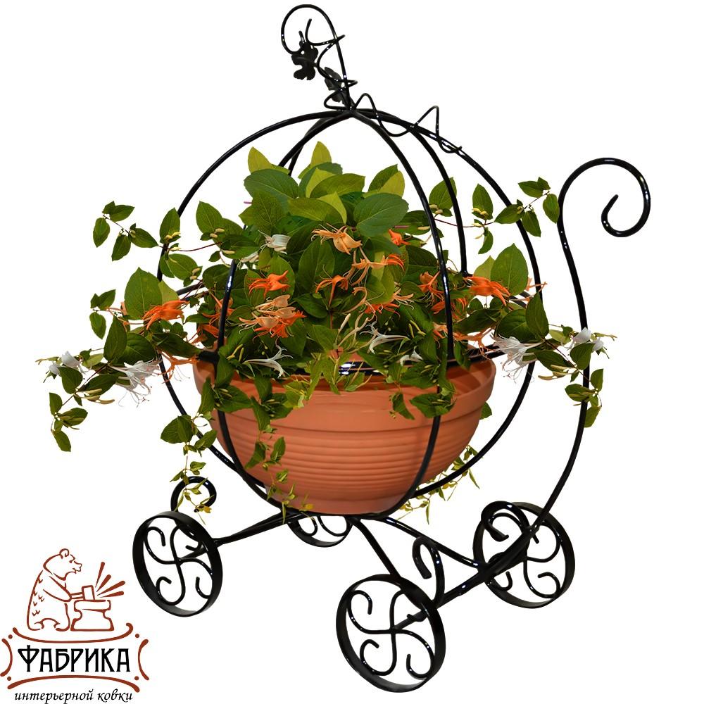 Подставка для цветов садовая, мини карета, 51-301