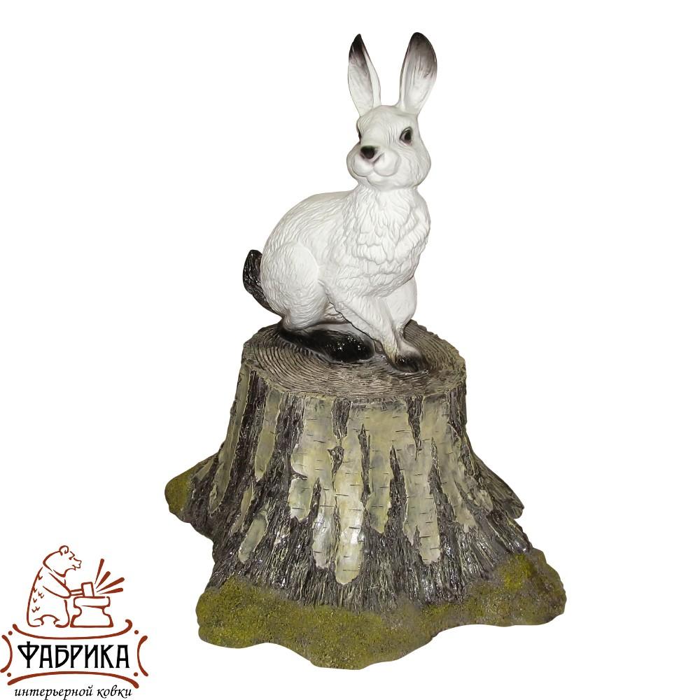 Заяц на пне, садовая фигура, F07062