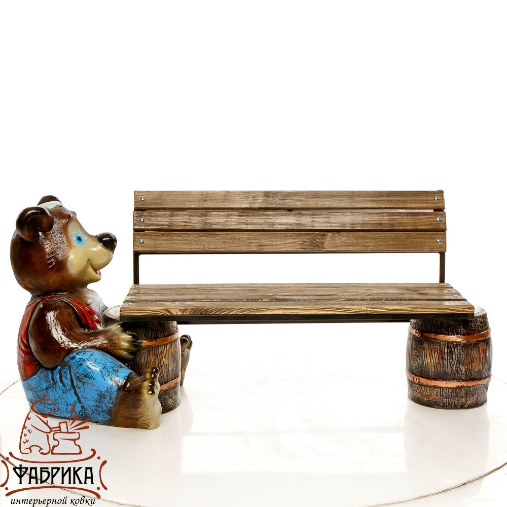 Скамейка Медведь с бочонком, U07593-2