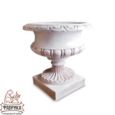 Садовый декор из полистоуна Вазон Средний белый U07931-WP