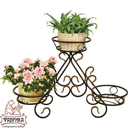 Стойка кованая напольная на 3 цветка 74-023