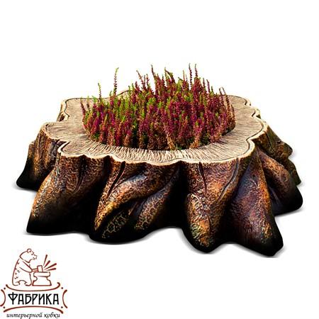 Садовый декор из полистоуна кашпо Пень без дна U07905