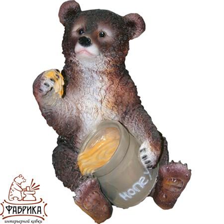 Садовая фигура из полистоуна Медведь с мёдом F01214