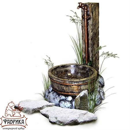 Садовый декор из полистоуна Умывальник с кадушкой U07558