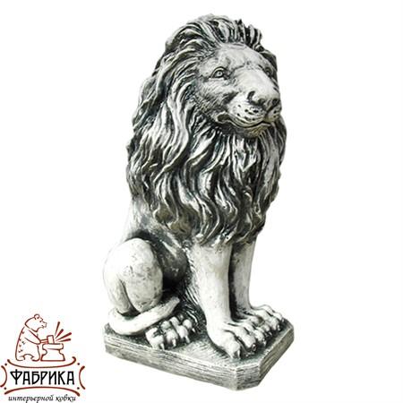 Садовый декор из полистоуна фигура Лев сидящий левый F01078