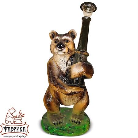Садовые фигуры из полистоуна светильник Медведь с фонарём F07124