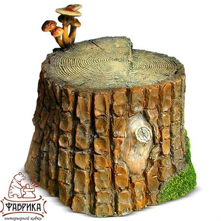 Садовый декор из полистоуна Пенёк с грибами F02009