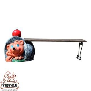 Садовая мебель из полистоуна Лавка Ёж с яблоком U07877М