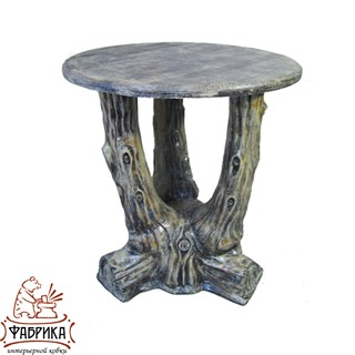 """Садовая мебель из полистоуна стол """"Три ствола"""" с деревянной столешницей U07504"""