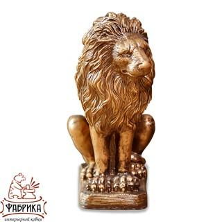 интерьерная фигура золотой лев сидит F01078-BG