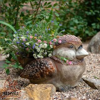 Садовое кашпо птичка