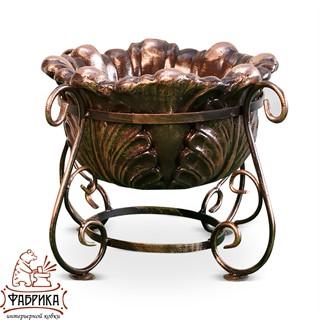 Садовый декор из полистоуна Уличный вазон бронза малый US07997 (53-505+US07926)