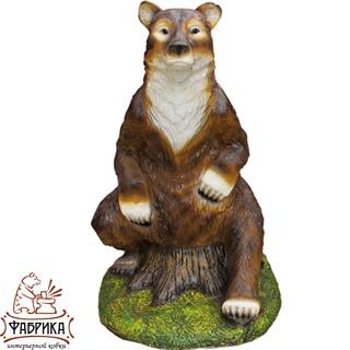 Садовая фигура из полистоуна Медведица на пне большая F07147