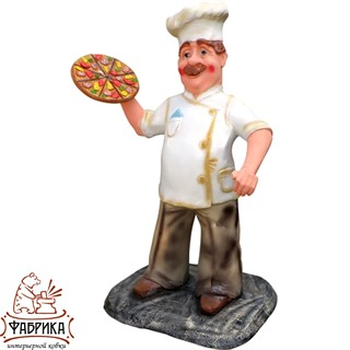 Садовая фигура из полистоуна Повар с Пиццей F07333