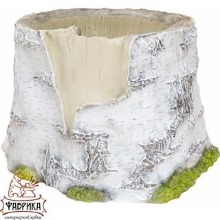 Садовый декор из полистоуна кашпо Пень Берёзовый большой ламинат F02018