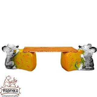 Садовая мебель из полистоуна скамейка Мышь с Сыром