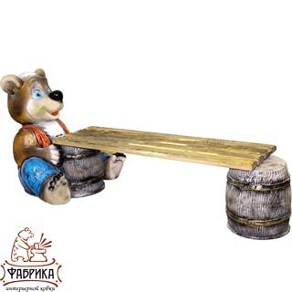 Садовый декор из полистоуна скамейка Медведь с Бочонком U07593