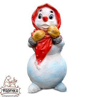 Новогодняя фигура из полистоуна Снеговик Девочка F07054