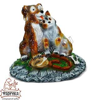 Садовый декор из полистоуна Крышка септика Собака с Кошкой U07360