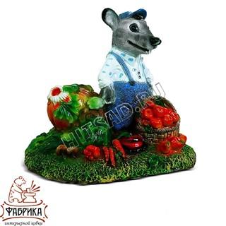 Садовый декор из полистоуна Крышка септика Крыс с Овощами U07347